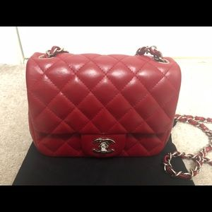 CHANEL Lambskin Quilted Mini Square Flap Red
